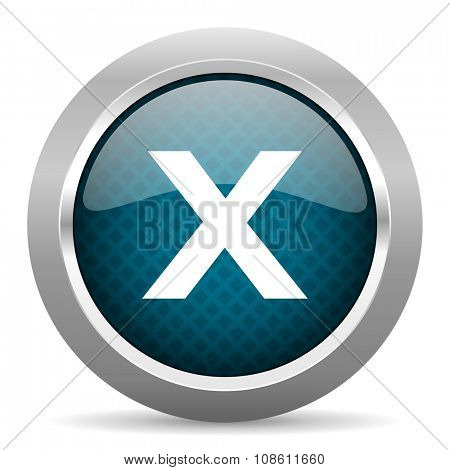 cancel blue silver chrome border icon on white background