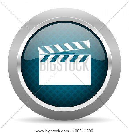 video blue silver chrome border icon on white background