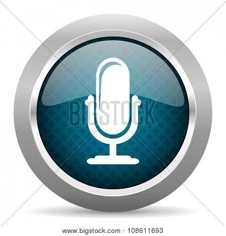 microphone blue silver chrome border icon on white background