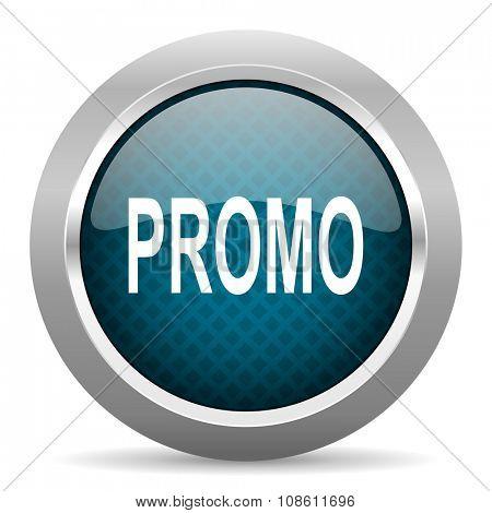 promo blue silver chrome border icon on white background