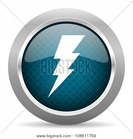 bolt blue silver chrome border icon on white background