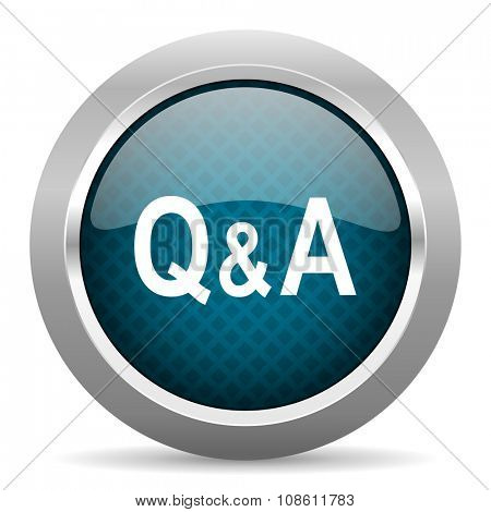 question answer blue silver chrome border icon on white background