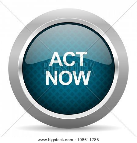 act now blue silver chrome border icon on white background