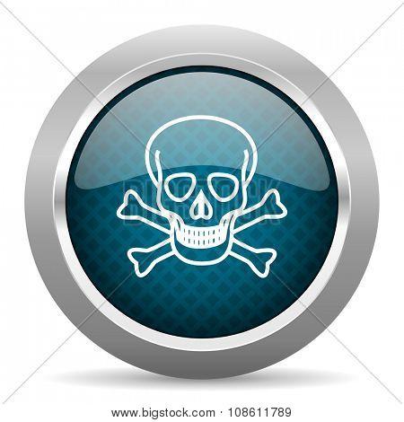 skull blue silver chrome border icon on white background