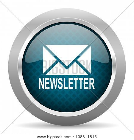 newsletter blue silver chrome border icon on white background