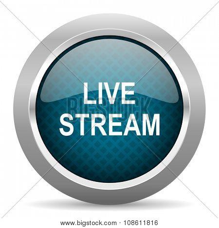 live stream blue silver chrome border icon on white background