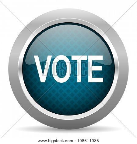 vote blue silver chrome border icon on white background