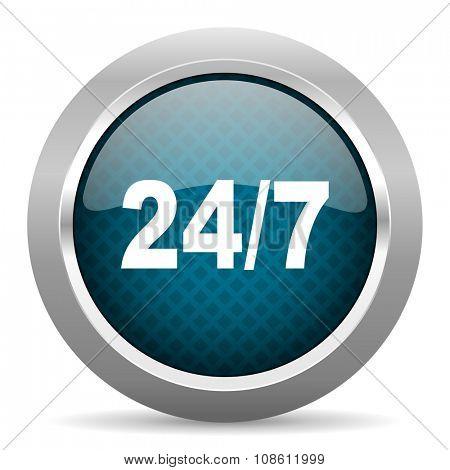24/7 blue silver chrome border icon on white background