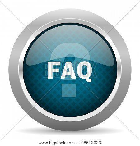 faq blue silver chrome border icon on white background