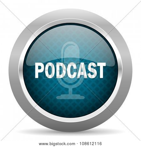 podcast blue silver chrome border icon on white background