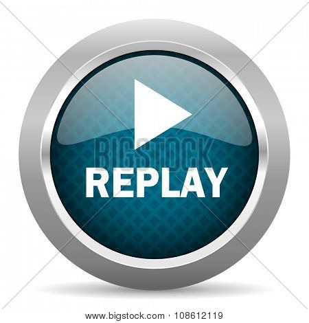 replay blue silver chrome border icon on white background