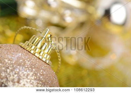 Christmas Background With Baubles And Beauty Bokeh, New Year Concept, Close Up