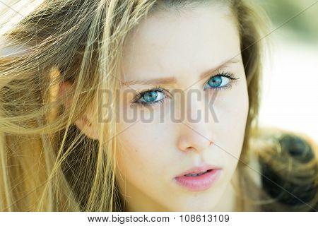 Portrait Closeup Of Pretty Girl