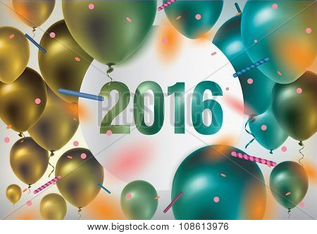 Happy new year 2016. Festive background with colorful balloons and confetti.