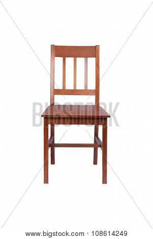 Brown wooden chair isolated on white background