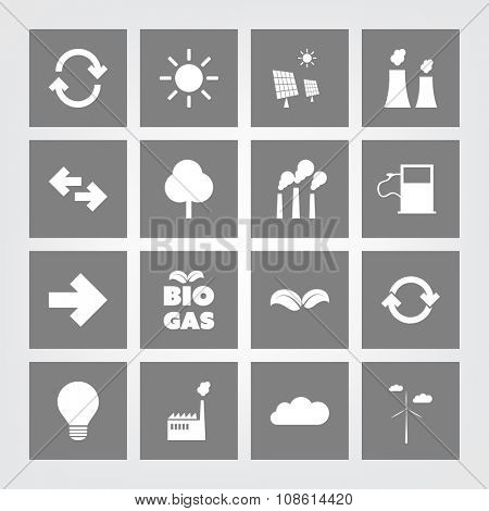 Eco Icon Set - 16 Different Icons On A Grey Background