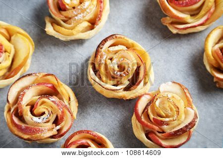 Fresh Puff Pastry With Apple Shaped Roses
