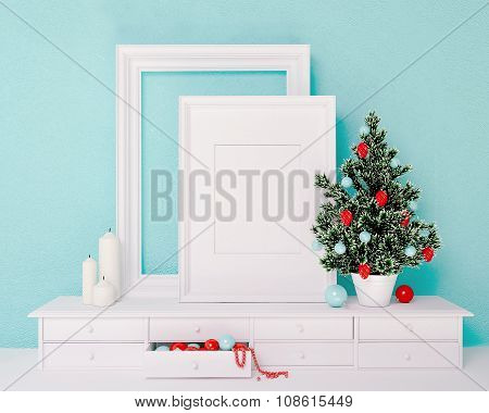 Mock Up Poster And Christmas Tree On A Dresser