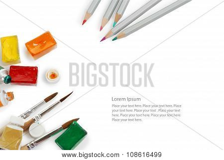 Set of color pencils used watercolor boxes, tubes and paint brushes. Top view. Isolated image with s