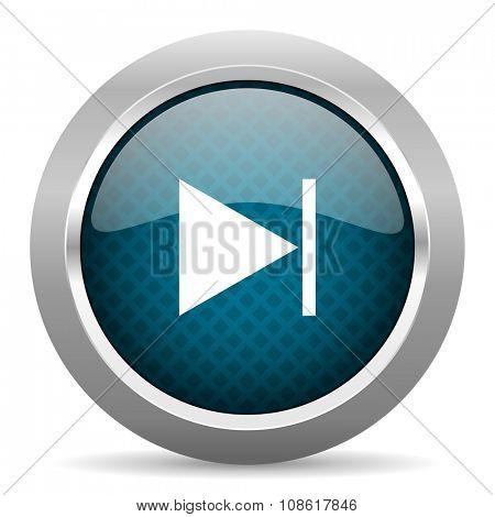 next blue silver chrome border icon on white background