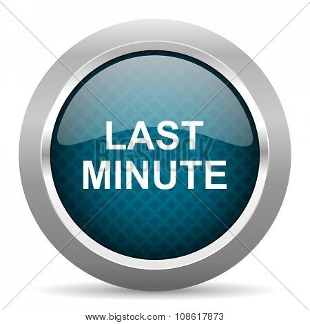 last minute blue silver chrome border icon on white background