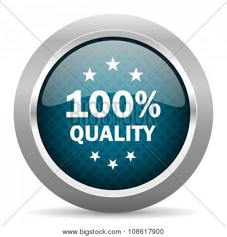 quality blue silver chrome border icon on white background
