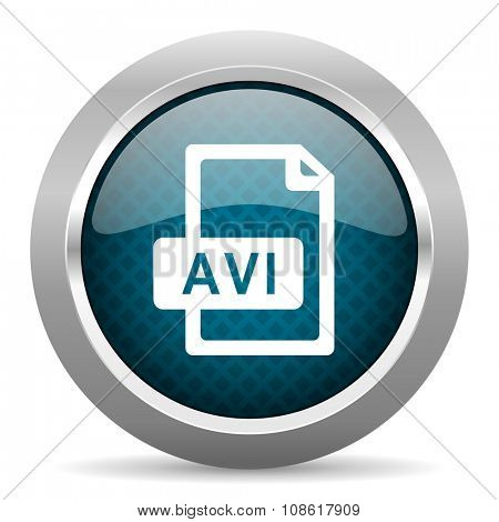 avi file blue silver chrome border icon on white background