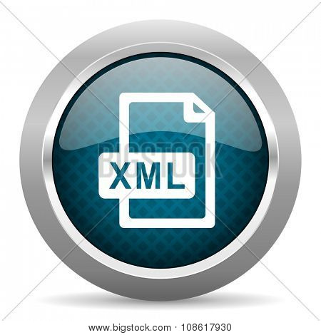 xml file blue silver chrome border icon on white background