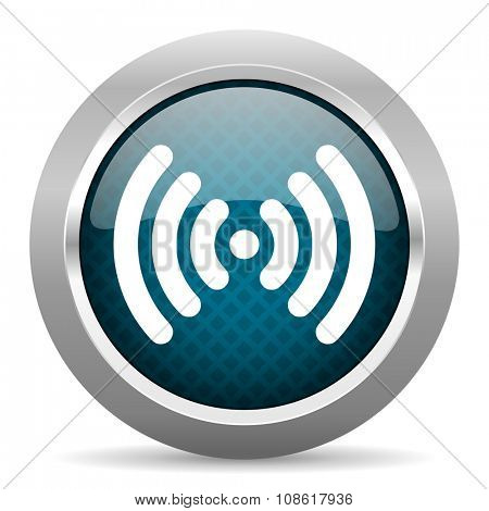 wifi blue silver chrome border icon on white background