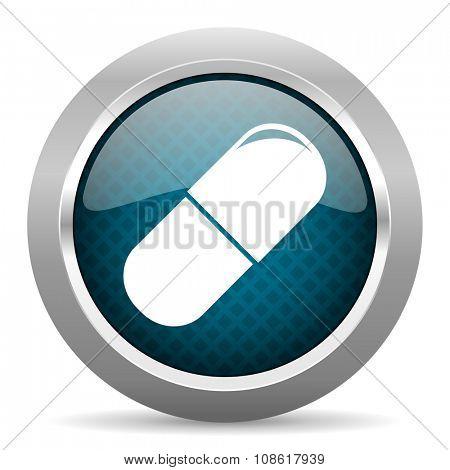 drugs blue silver chrome border icon on white background