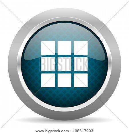thumbnails grid blue silver chrome border icon on white background