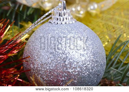 Closeup Of Christmas Balls And Green Fir Tree Branch, New Year Invitation Card