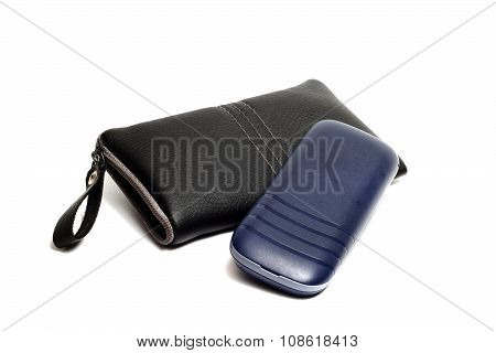 Black Leather Case For Mobile Phone And Phone