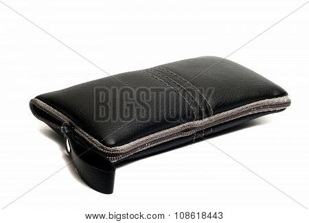 Black Leather Case For Mobile Phone On A White Background