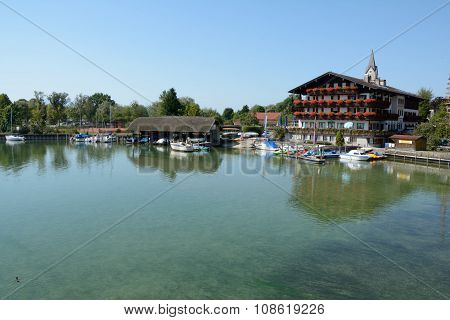Sailboats In Marina At Chiemsee Lake In Germany