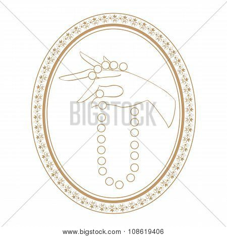 jewelry vintage label for necklace.  isolated vector illustration