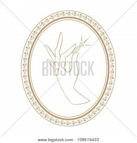 jewelry vintage label with ring in hand. isolated vector illustration