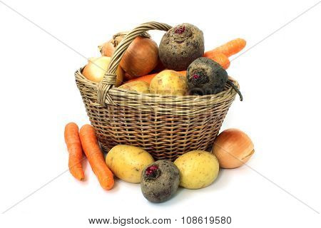 Basket Full Of Various Vegetables