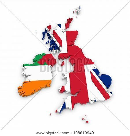 3D Outline Of The United Kingdom And Ireland Textured With The Union Jack And Irish Flags