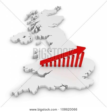British Economic Growth Concept Image - Upward Sloping Graph On White 3D Outline Of The United Kingd