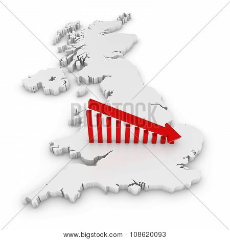 British Economic Decline Concept Image - Downward Sloping Graph On White 3D Outline Of The United Ki