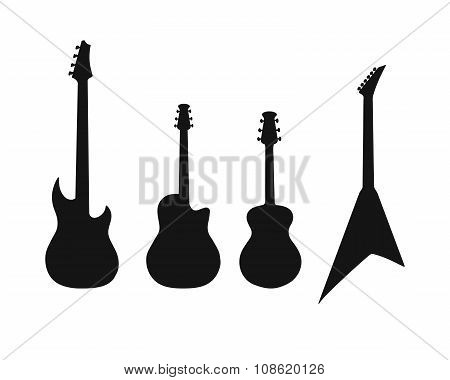 A set of silhouettes of various guitars