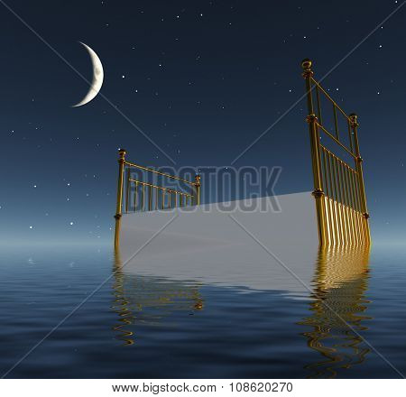 Peaceful Bed afloat on water