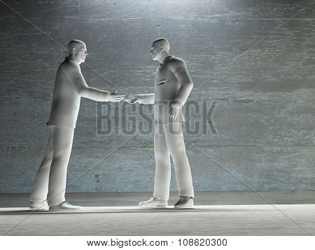 Two man about to shake hands art work