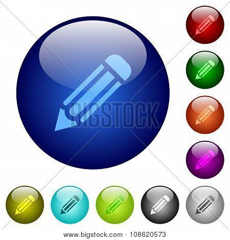 Color Pencil Glass Buttons