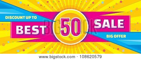 Best sale vector banner. Discount up to 50% vector banner.