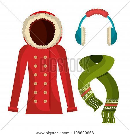 Winter wear, clothes and accessories
