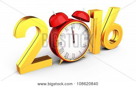 3D Happy New Year 2016 With Clock