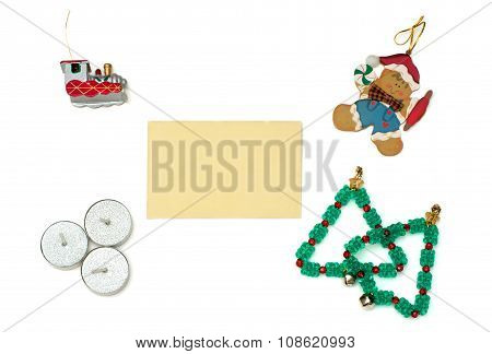 Christmas Gingerbread, Train, Trees And Candles With Greeting Card