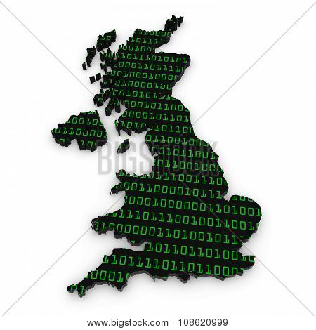 Uk Technology Industry Concept Image - 3D Outline Of The United Kingdom Textured With Green Binary C
